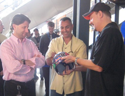 Jeff Wilpon and John Franco checking out the Fazzino 3D helmet