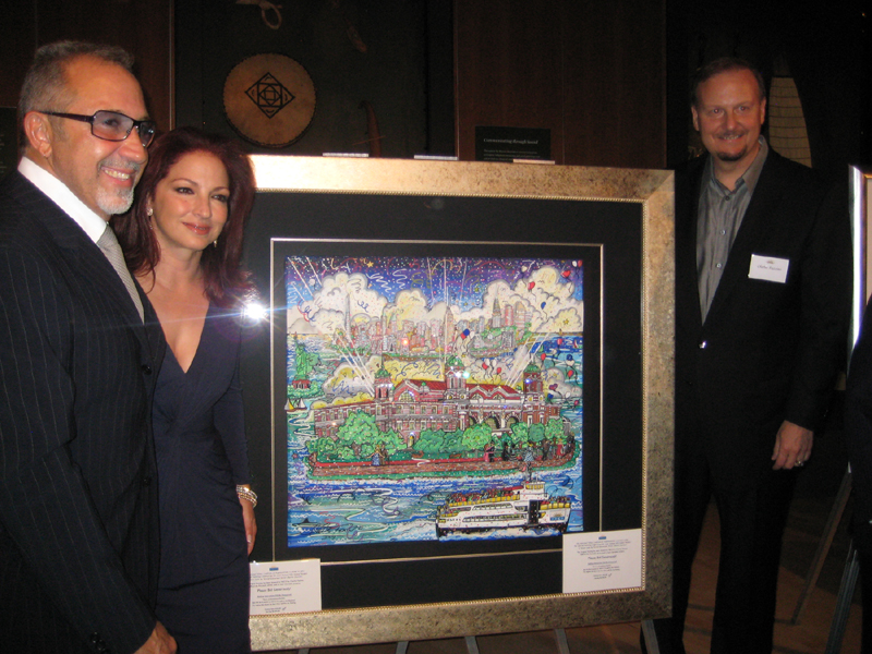 Charles Fazzino, Emilio Estefan, and Gloria Estefan at the Ellis Island Medal of Honor Awards