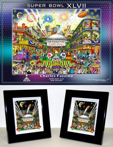 Charles Fazzino Super Bowl XLVII Art Collection Poster and Mini Print