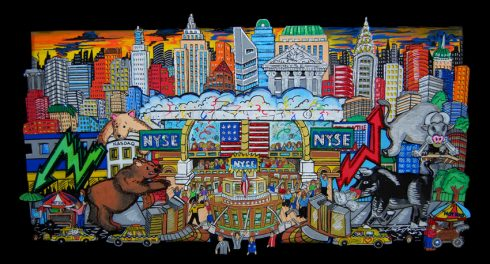 fazzino-U0193-original-pop-art-mixed-media-NYC-finance-bear-bull-wallst