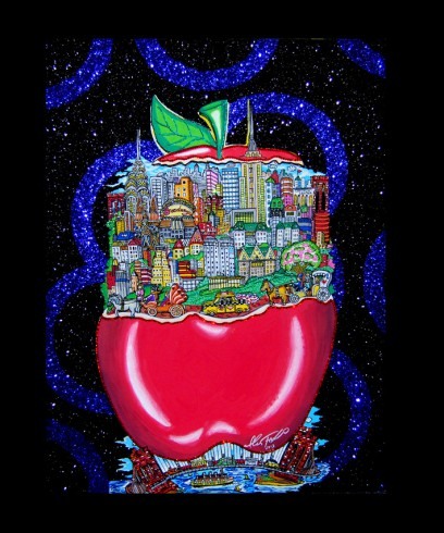 fazzino-U0204-original-mixed- media-apple-new-york-city-black-blue