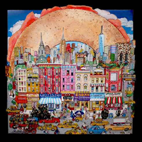 fazzino-U0252-original-mixed-media-nyc-lower-east-bagel