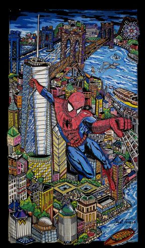 fazzino-U0309-original-mixed-media-painting-spiderman-nyc