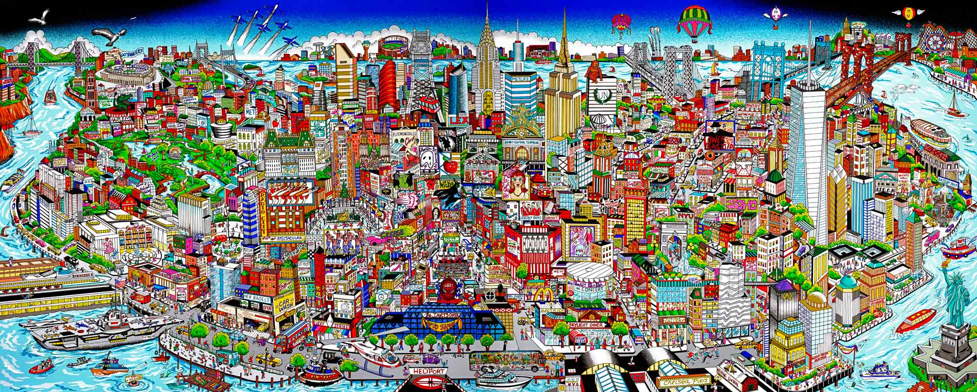 fazzino-cityscape-art-Manhattan-MuralIsland of Hopes and Dreams