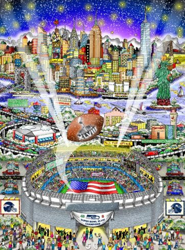 Charles Fazzino Super Bowl 2014 commemorative artwork
