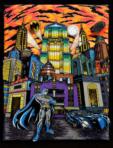 fazzino-original-mixed-media-u0448-batman-bat-mobile-gotham