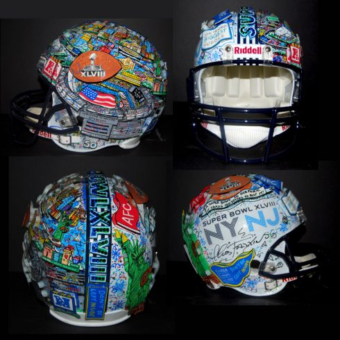 A multi-side view of Charles Fazzino's Super Bowl 2014 themed, hand-painted football helmet