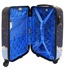 Blue interior of the Fazzino luggage