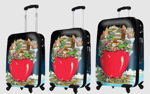 The Fazzino unique luggage set featuring the Big Apply (NYC) on 3 different sizes in the set