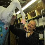 3D Pop artist Charles Fazzino in his studio with the horse for stamford Horsin' Around
