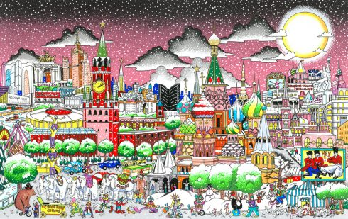 Image of a Fazzino original work rendering the city of Moscow, Russia, with all the well known buildings creating a city skyline across a pink exotic sky