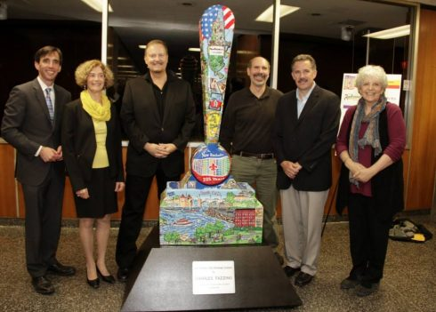 Charles Fazzino, along with Mayor Noam Bramson, City Council Member Barry Fertel, 325th Committee Chairwoman Marianne Sussman, and ArtsFest Chair Judith Weber unveiling Fazzino's sculpture