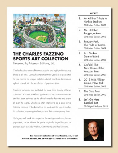 The brochure outlining the Fazzino sports artwork now on display at Chelsea Piers