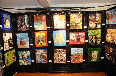 Some of the artwork hanging up on display at the CHOICE fundraising event