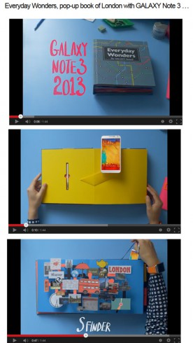 Image of the Samsung Galaxy Notes pop up book video