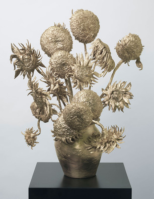 "Vincent Van Gogh's famous 1888 painting ""Sunflowers"" into a true-to-life 3D bronze sculpture"