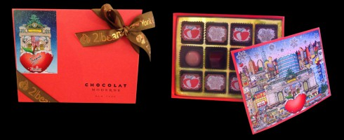 Image of the inside and outside of the fazzino chocolate box, with a preview of the artwork inside