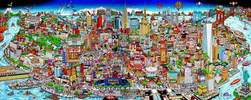 A detailed 3D mural of NYC from The Bronx to Soho and beyond in Fazzino's 3D pop art style
