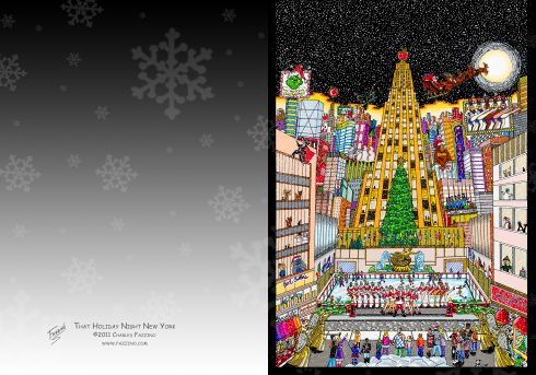 Image of the outside of the Fazzino pop art holiday cards with the rockfeller center christmas tree on it