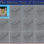 A calendar of The 12 days of Fazzino with day one highlighted and featuring the product on sale