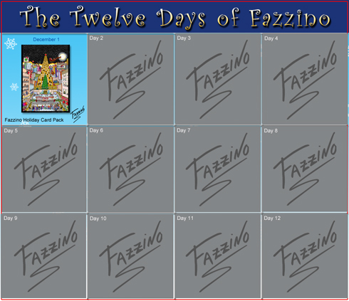 Calendar of The Twelve Days of Fazzino with the day 1 prize highlighted