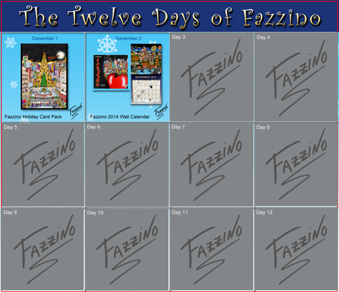 Image of the twelve days of fazzino holiday guide calendar with gifts from day 1 and day 2 highlighted