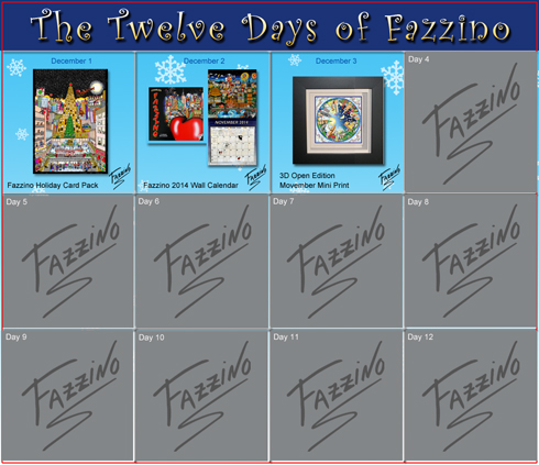 The Twelve Days of Fazzino calendar with day 1 through day 3 highlighted and showing the holiday gift available