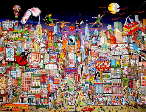 Extremely detailed pop art rendering of New York City's Broadway buildings, excitement and happenings