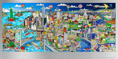 The colorful version of Charles Fazzino's Illusions of New York aluminum artwork collection