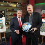 "Regis Philbin and Charles Fazzino pose for a picture during the Fox Sports 1's new sports talk show, ""Crowd Goes Wild."""