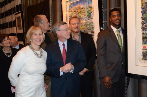 Charles Fazzino, Tisch Oates,Kelly, and  Coples admiring the Super Bowl artwork for 2014