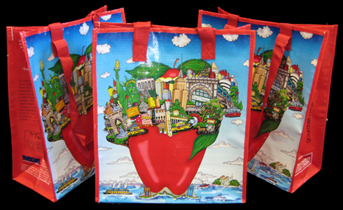 3 red Fazzino recyclable grocery bags with the apple and earth pop art design on the front of the bag