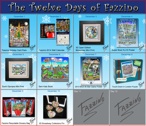 Calendar of the Twelve Days of Fazzino with days 1 through 10 highlighted with their featured gifts