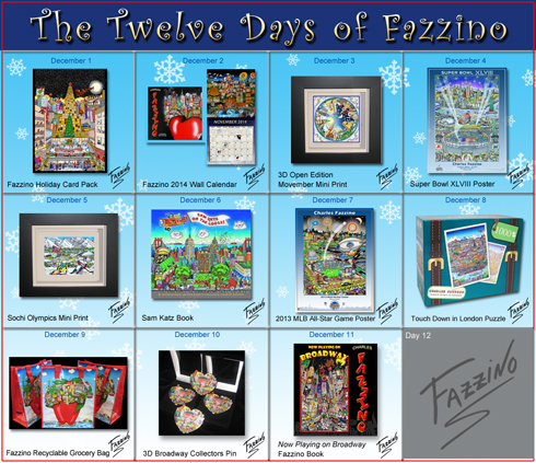 Calendar of Twelve Days of Fazzino with days 1 through 11 highlighted with their featured holiday gifts