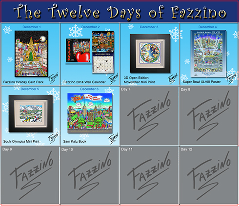 Calendar of the Twelve Days of Fazzino with days 1 through six highlighted with their featured gifts, today's being a Fazzino book about a cat
