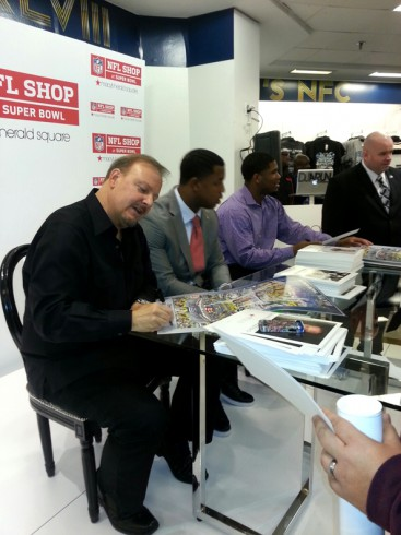 Signing with Quinton Coples and Kevin Reddick at the NFL Shop in NYC