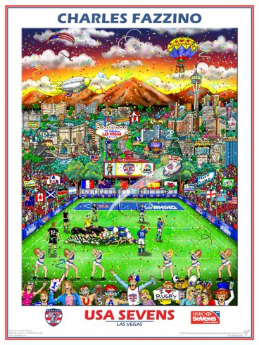 Image of Charles Fazzino's commemorative artwork for the USA sevens rugby tournament