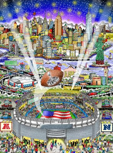 Image of Charles Fazzino's 2014 Super Bowl artwork, a colorful display of Met Life stadium and football