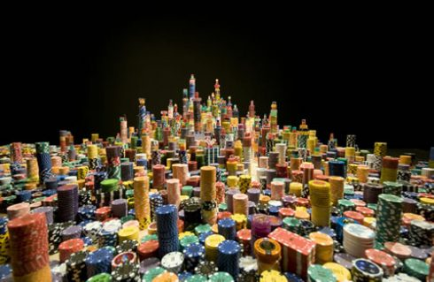 "Liu Jianhua's 3D artwork, called ""Dream in Conflict"" of a city constructed in poker chips"