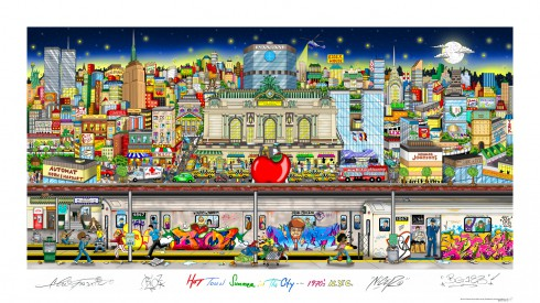 A colorful piece of artwork rendering NYC in the 1970's created by Charles Fazzino and the members of TATS Cru