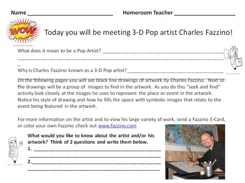 A school worksheet created by a teacher for a lesson plan about artist Charles Fazzino