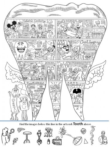 Inspired by Charles Fazzino's 3D tooth artwork, this worksheet asks students to find certain objects inside the picture of the tooth
