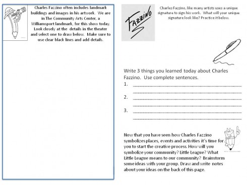 A fill in the blank worksheet asking students to reflect on their experiences with Charles Fazzino's visit