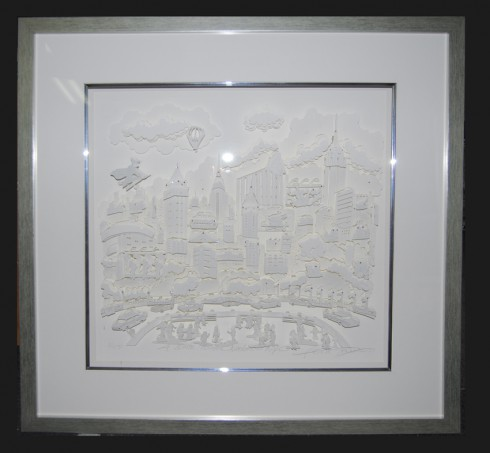 Image of a framed 3D Monochromatic artwork created by pop artist Charles Fazzino