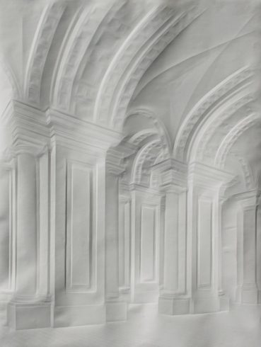 An artwork of incredible architectural communicated through lines and shadowing created simply by folding blank paper