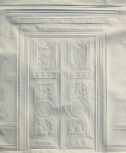 An artwork illustrating a detailed double door created through lines and shadowing of intricately folded paper