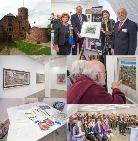 A collage of pictures from the unveiling of Charles Fazzino's art exhibition in Kreis Düren, Germany