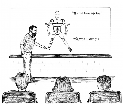 Cartoon sketch of an art teacher teaching students how to draw the human body