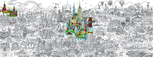 Image of the line art of Fazzino's pop art piece, 'Its a Small World' with New York and now Moscow highlighted with color
