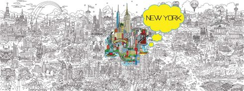 Image of the line art of Fazzino's pop art piece, 'Its a Small World' with New York highlighted with color